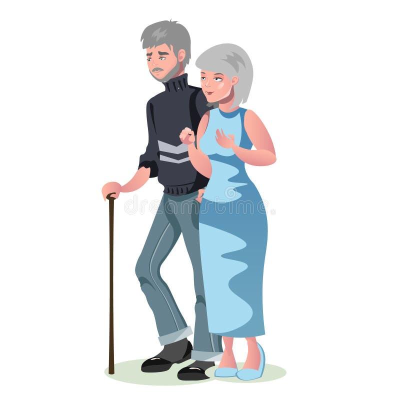 Uomo anziano e donna isolati illustrazione vettoriale