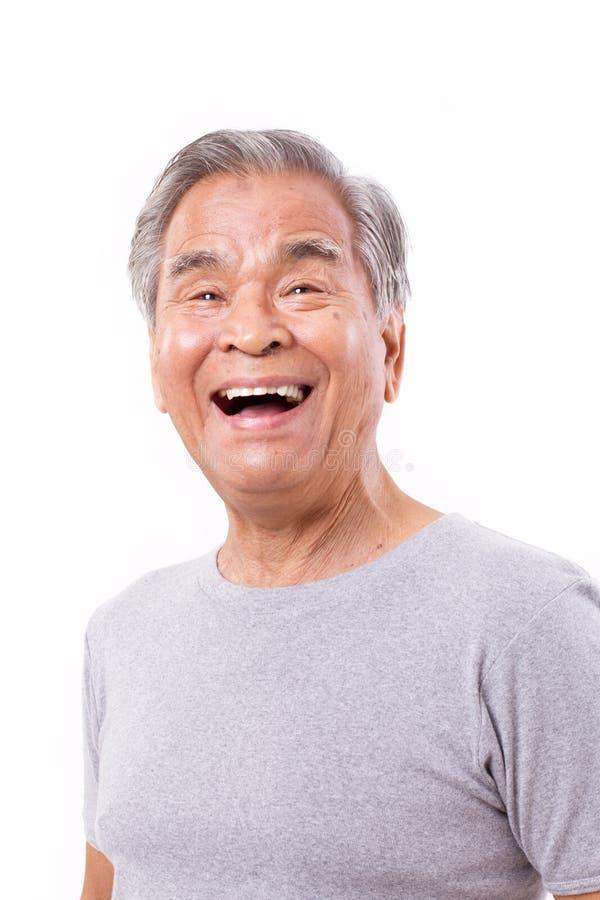 Uomo anziano felice e di risata fotografie stock libere da diritti