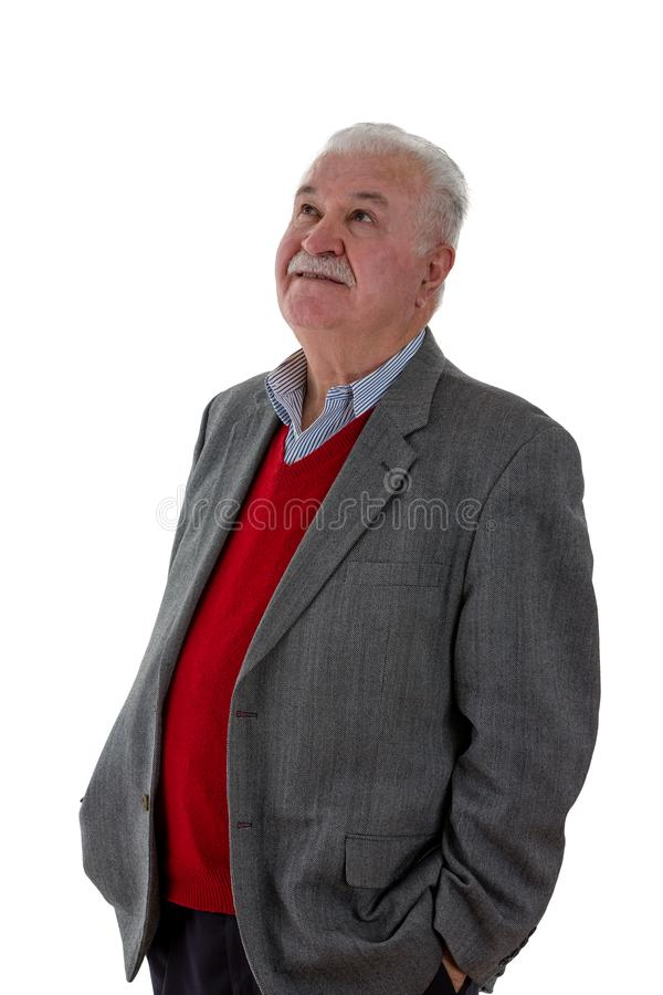 uomo anziano Grigio-dai capelli che sta pensante immagine stock