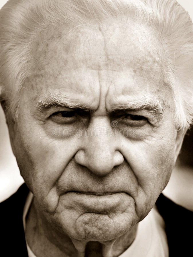 Uomo anziano infelice fotografie stock