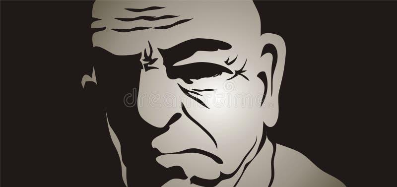 Uomo anziano nelle ombre illustrazione di stock