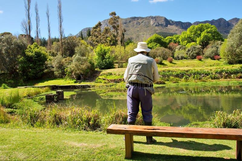 Uomo anziano occupato con flyfishing fotografia stock
