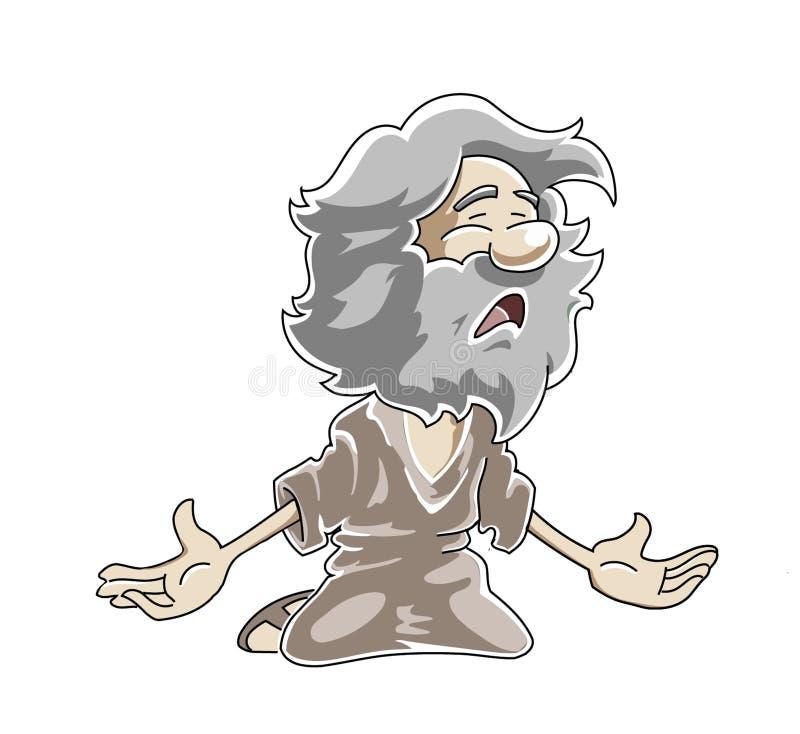 Uomo anziano povero inginocchiato royalty illustrazione gratis
