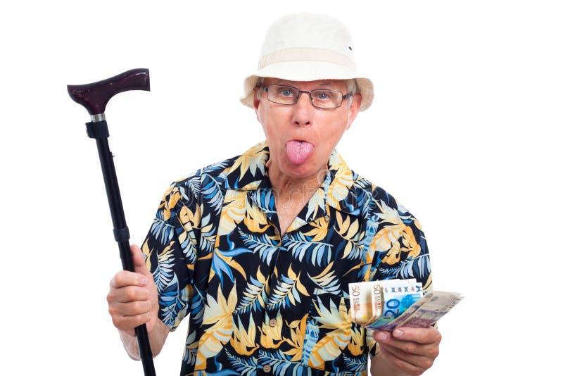 Uomo anziano ricco che fa i fronti divertenti immagine stock