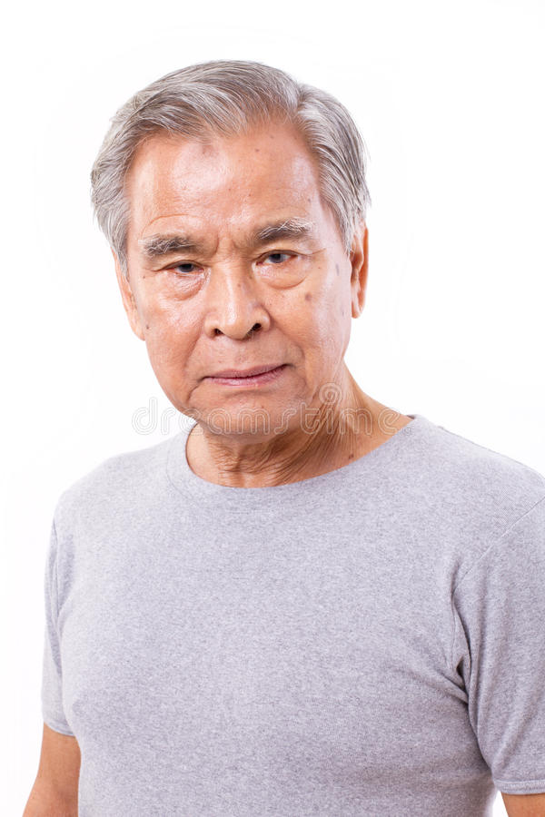 Uomo anziano senior frustrato e depresso fotografia stock