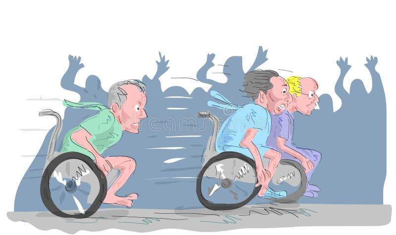 Uomo Anziano Sulla Corsa Della Sedia A Rotelle