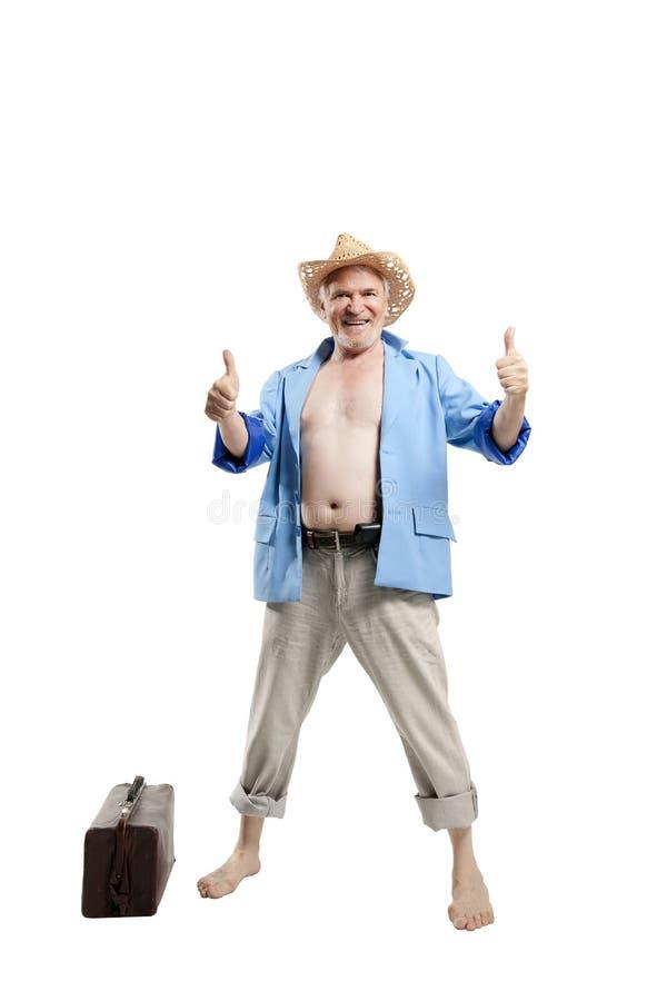 Uomo anziano sulla spiaggia fotografia stock libera da diritti