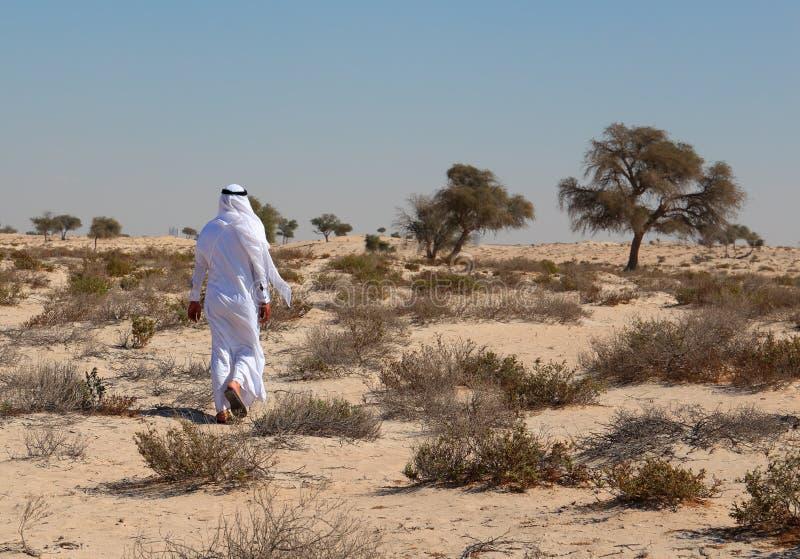 Uomo arabo in deserto fotografia stock