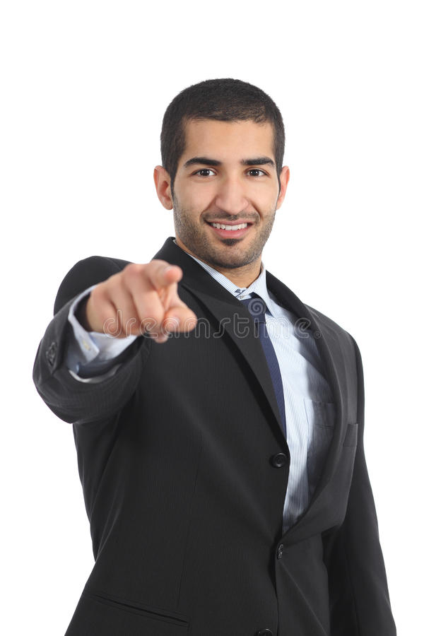 Uomo arabo di affari che vi indica alla macchina fotografica fotografia stock