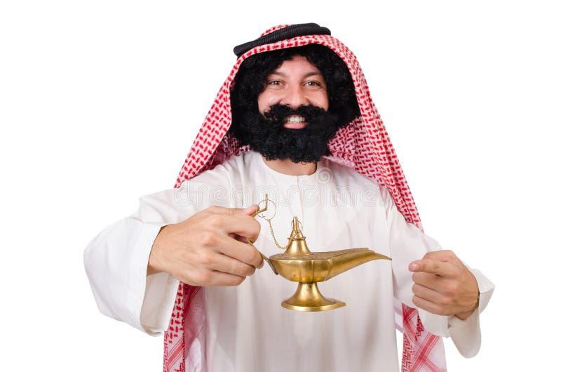 Uomo arabo divertente con la lampada immagine stock libera da diritti