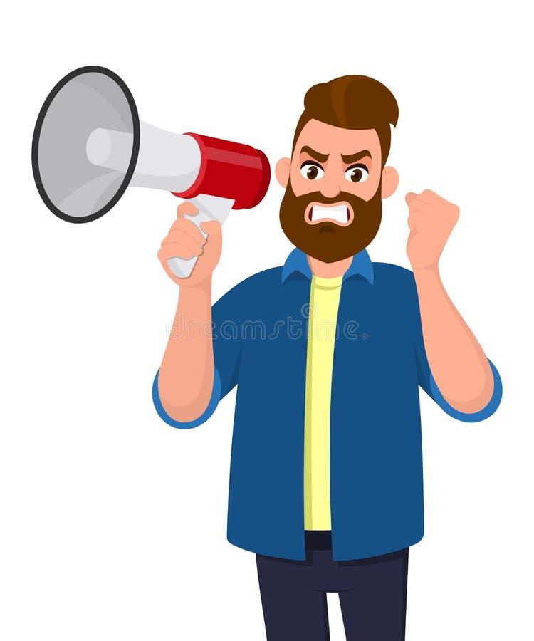 Uomo arrabbiato che tiene un megafono o un altoparlante e che solleva gesto del pugno della mano Uomo d'affari di collera che gri illustrazione vettoriale