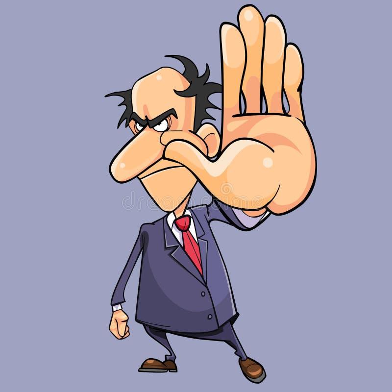 Uomo arrabbiato del fumetto in un vestito con metter nel mezzosi del legame della mano illustrazione di stock