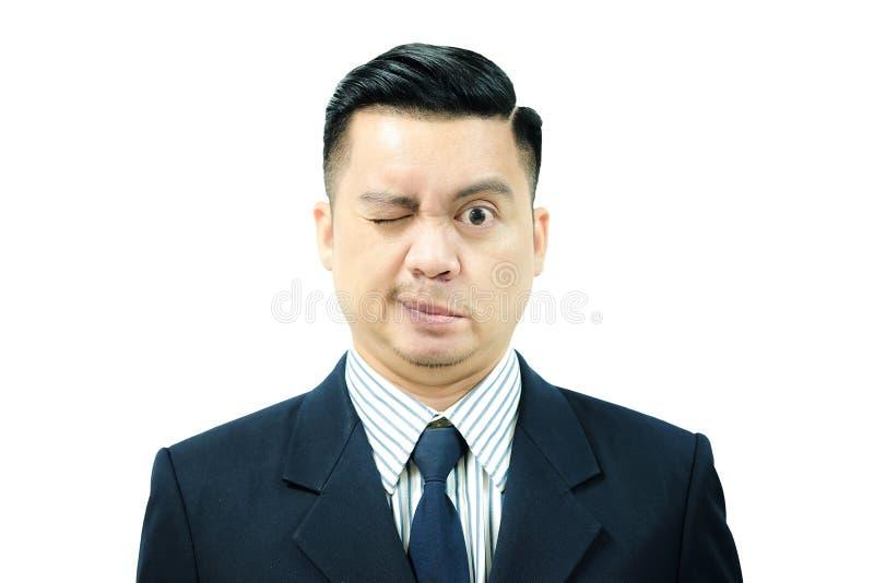 Uomo asiatico con paralisi del ` s di Bell fotografia stock