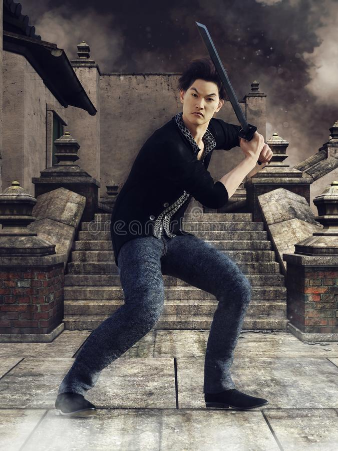 Uomo asiatico con una spada royalty illustrazione gratis