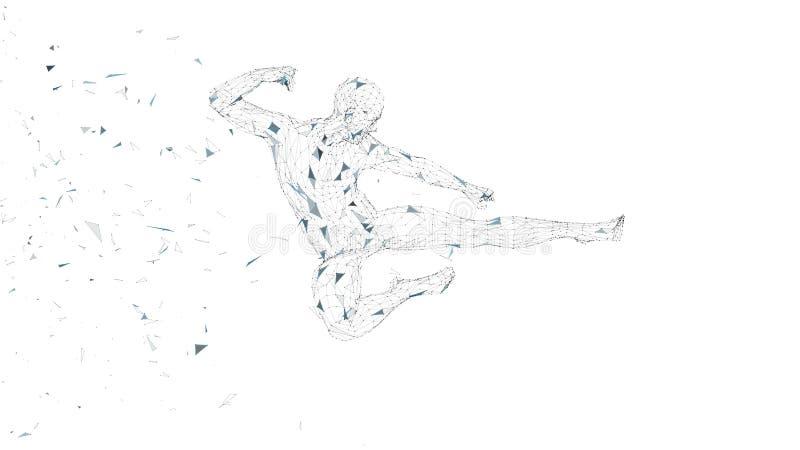 Uomo astratto concettuale che salta nella scossa di kung-fu Linee collegate, punti, triangoli, particelle Intelligenza artificial illustrazione di stock