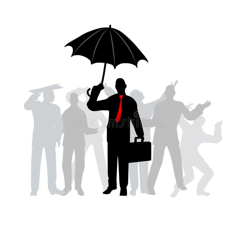 Uomo astuto di affari con l'ombrello illustrazione vettoriale