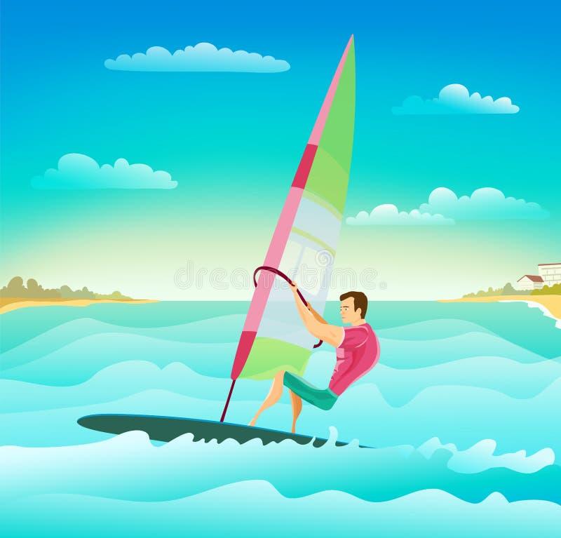 Uomo atletico facente windsurf royalty illustrazione gratis