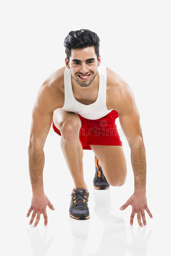 Uomo atletico pronto a funzionare fotografia stock libera da diritti