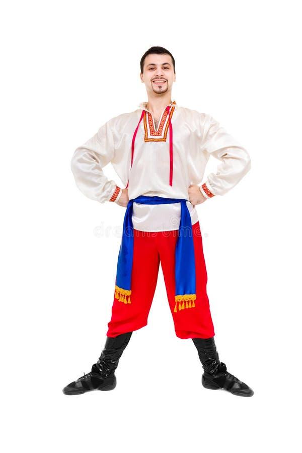 Uomo attraente che indossa una posa ucraina piega del costume immagine stock libera da diritti