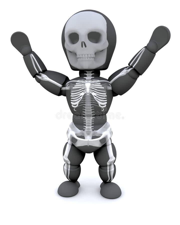 Uomo in attrezzatura dello scheletro del partito di Halloween illustrazione vettoriale