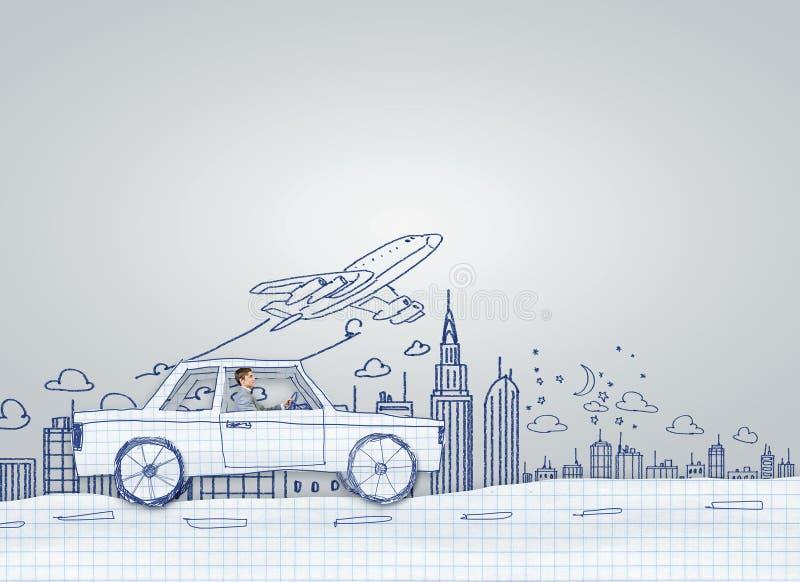 Uomo in automobile illustrazione di stock