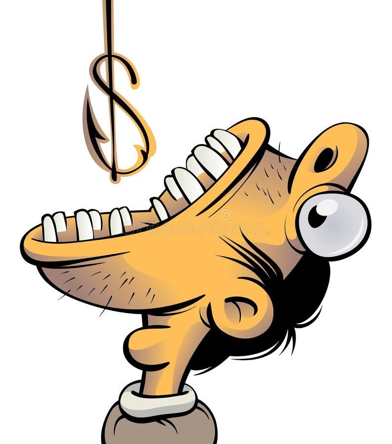 Uomo avido per soldi illustrazione di stock