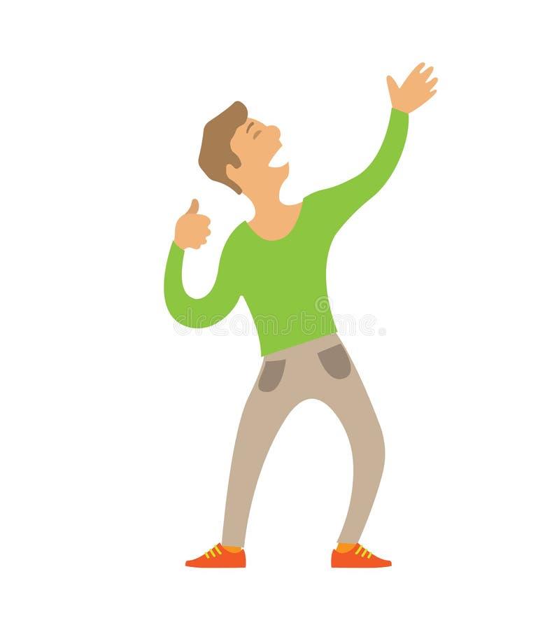Uomo ballante che allunga armi sul carattere isolato illustrazione vettoriale