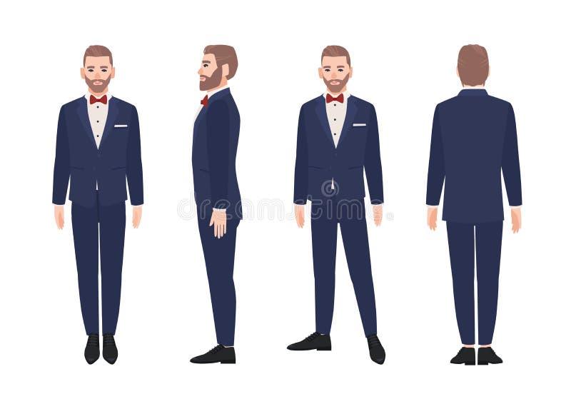 Uomo barbuto attraente vestito in vestito o smoking elegante Personaggio dei cartoni animati maschio felice che indossa abbigliam illustrazione di stock