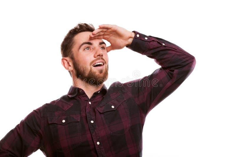 Uomo barbuto bello isolato su bianco immagini stock libere da diritti