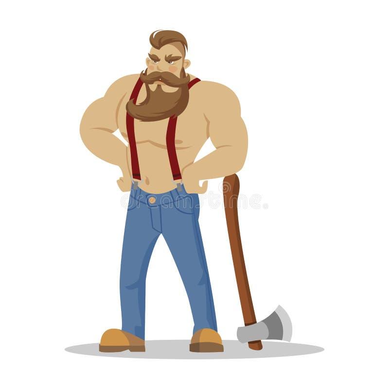 Uomo barbuto brutale del boscaiolo in camicia a quadretti rossa con l'ascia in mani woodcutter Escursione di smania dei viaggi e  illustrazione vettoriale
