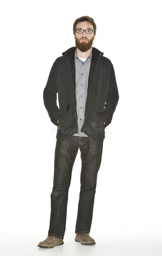Uomo barbuto con il rivestimento del maglione immagini stock