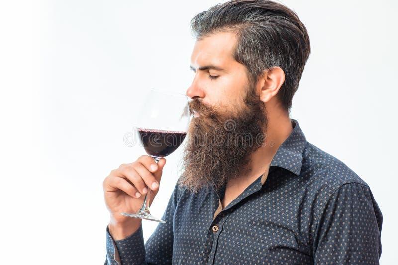 Uomo barbuto con vino immagine stock libera da diritti