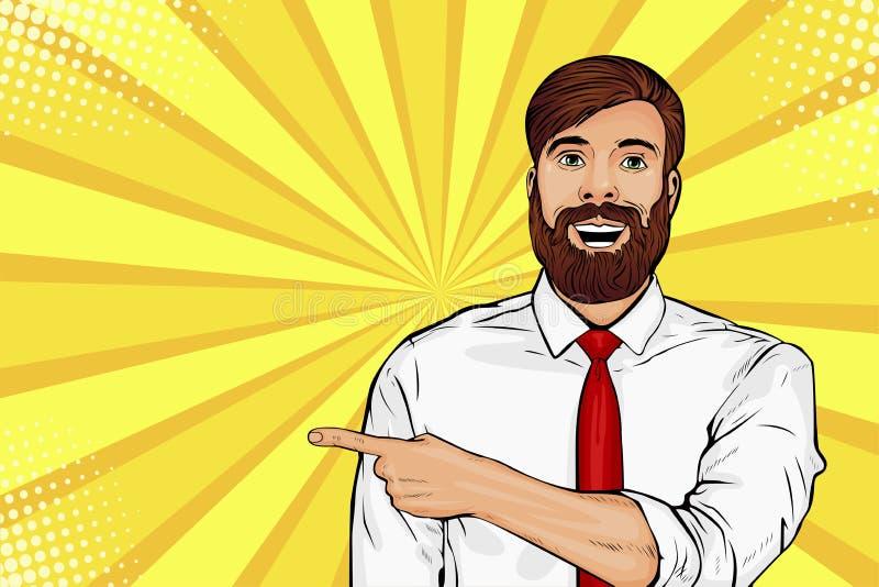 Uomo barbuto dei pantaloni a vita bassa di Pop art con espressione facciale colpita Rappresentazione maschio sorpresa dal dito illustrazione di stock