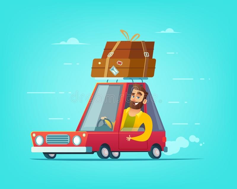 Uomo barbuto felice che conduce un'automobile Festa su un'illustrazione di concetto di viaggio illustrazione di stock