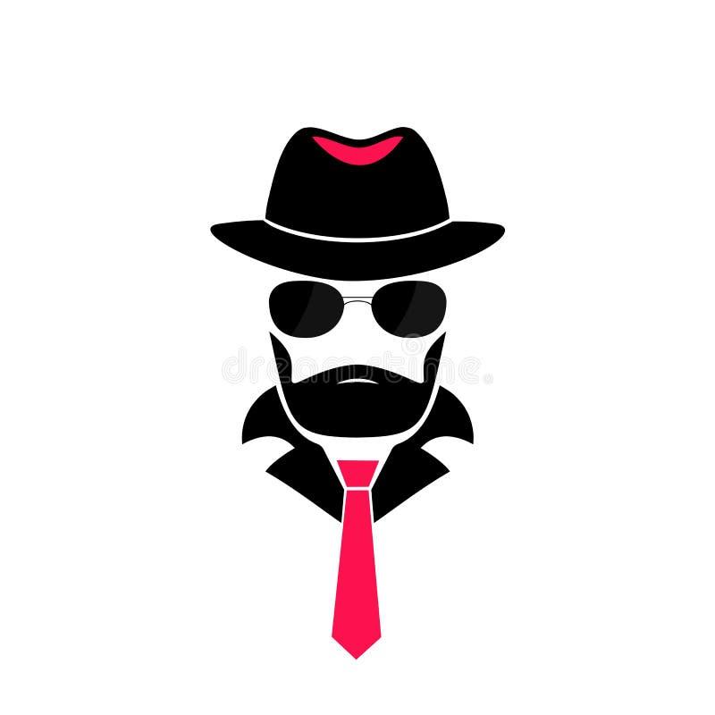 Uomo barbuto in un cappello ed in occhiali da sole Logo del signore nello stile della mafia per il deposito maschio, un negozio d illustrazione vettoriale