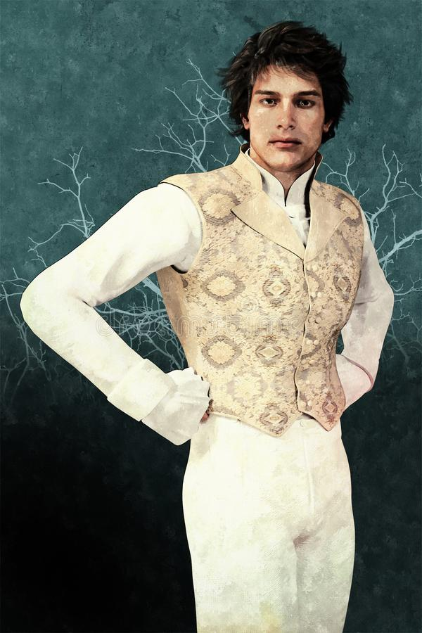 Uomo bello arrogante di Regency con le mani sulle anche fotografie stock libere da diritti