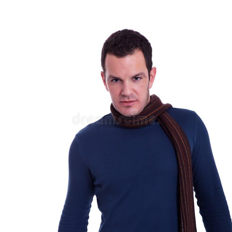 Uomo bello, con una sciarpa fotografie stock