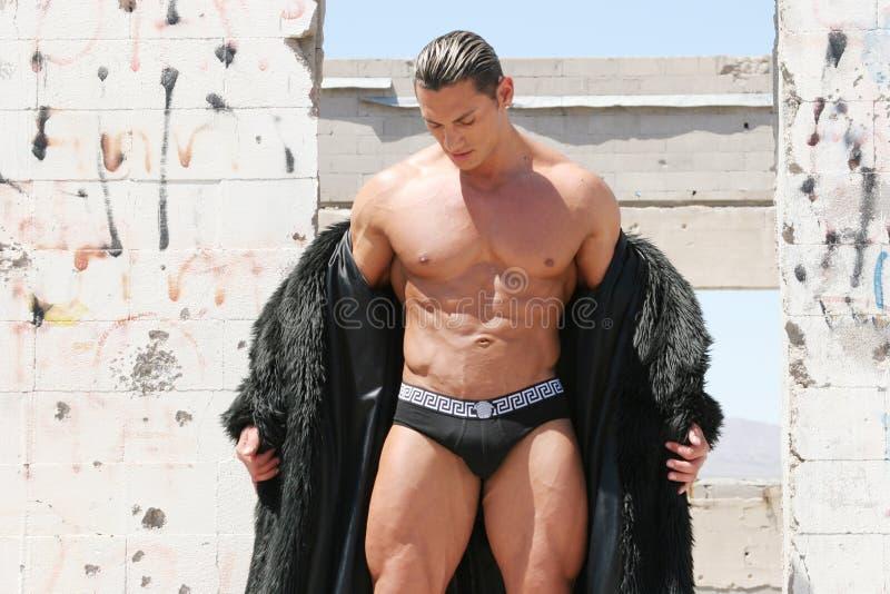 Uomo bello sexy in cappotto di pelliccia immagini stock libere da diritti