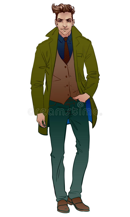 Uomo bello in un cappotto illustrazione di stock