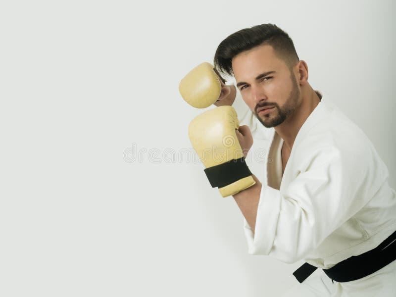 Uomo bello in un tiro di foto per il manifesto Composizione riempita per metà su un tema di sport Atleta carismatico in un kimono immagine stock