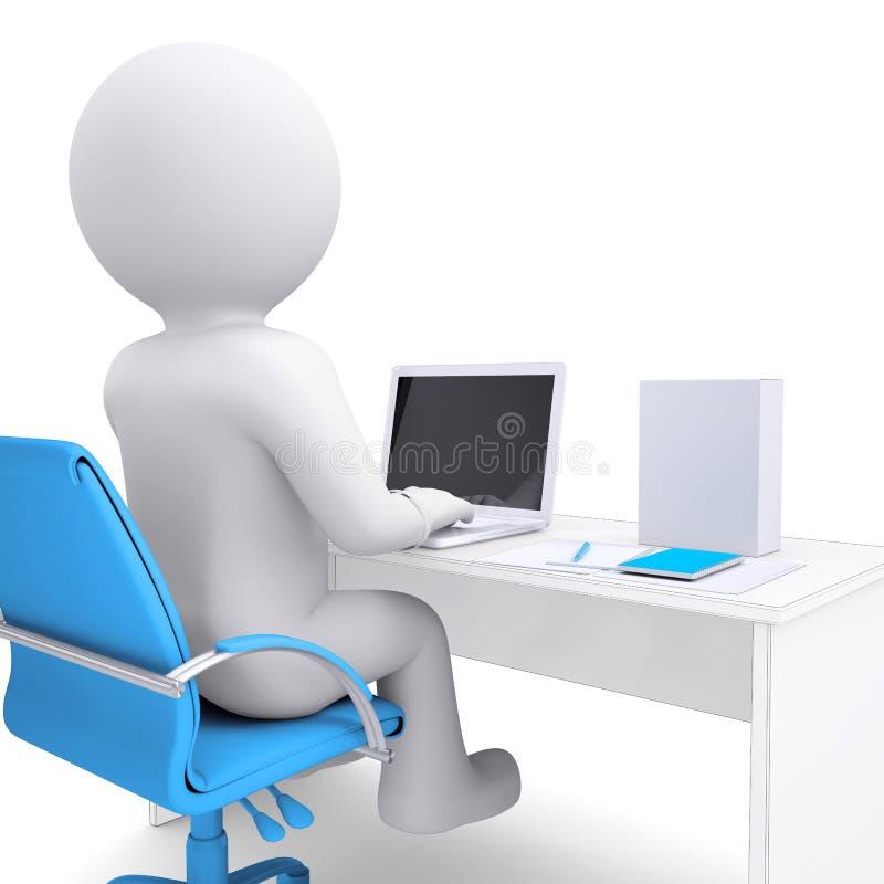 uomo bianco 3d che lavora ad un computer portatile. Sulla tabella in una casella bianca illustrazione di stock