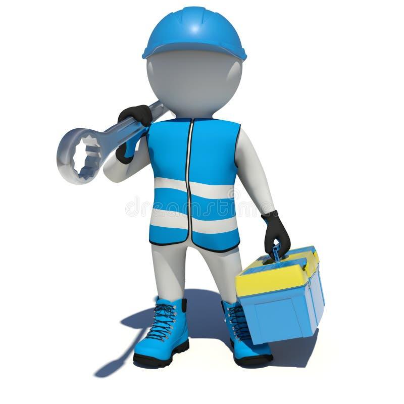 Uomo bianco in camici che tengono cassetta portautensili e chiave illustrazione di stock