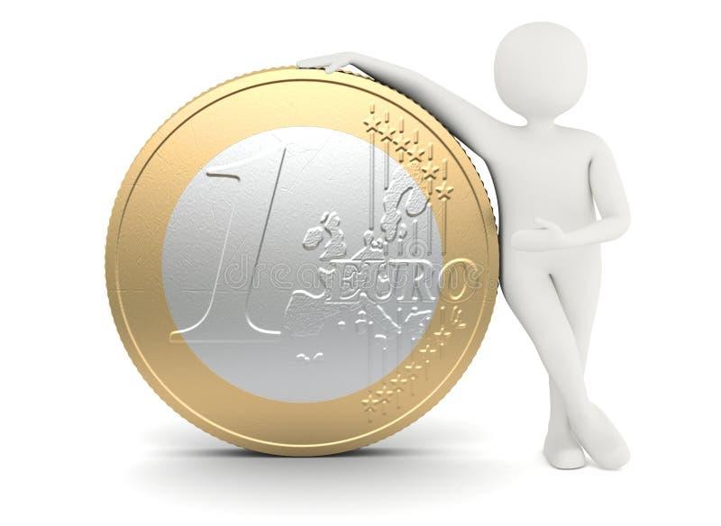 Uomo bianco che si leva in piedi vicino alla grande moneta dell'euro di formato illustrazione di stock