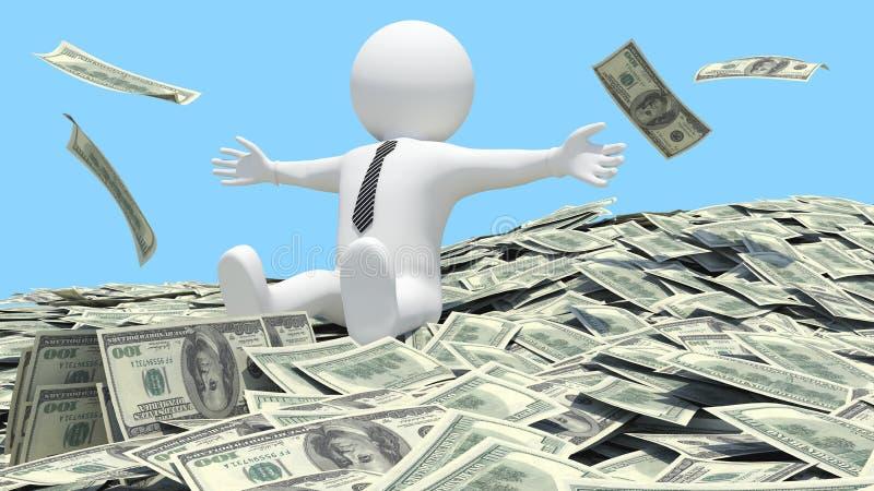 Uomo bianco che si siede su un mucchio di soldi illustrazione di stock