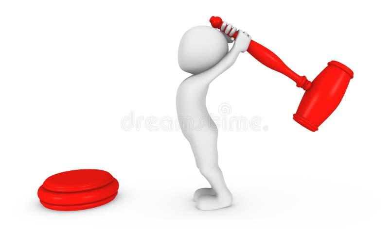 uomo bianco 3d con il grande martello rosso in mani royalty illustrazione gratis
