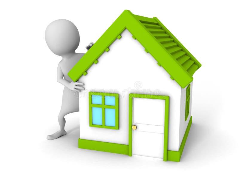 Uomo bianco 3d con la piccola casa verde del tetto illustrazione di stock