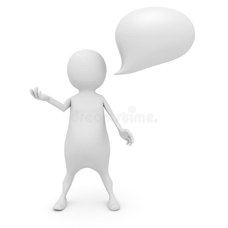 Uomo bianco 3D con una bolla di conversazione illustrazione di stock