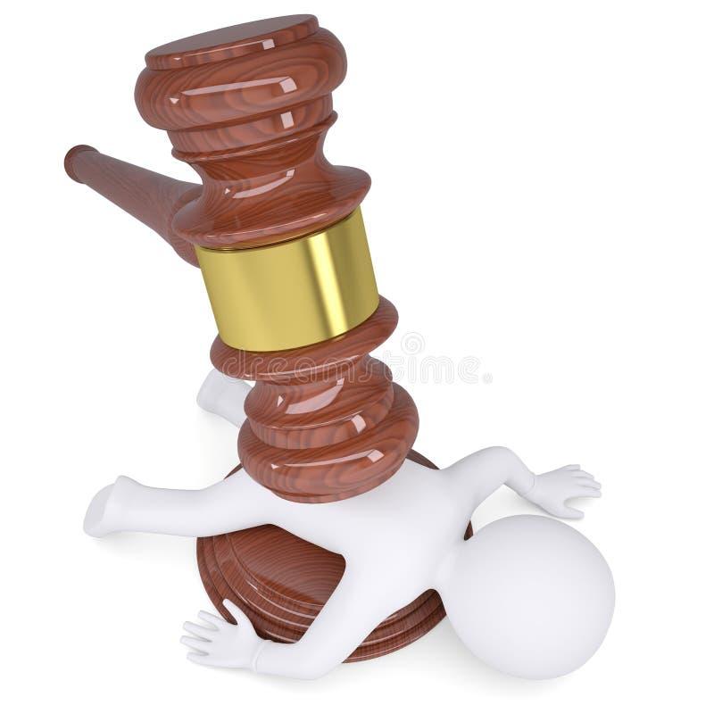 uomo bianco 3d sotto il martello del giudice illustrazione vettoriale