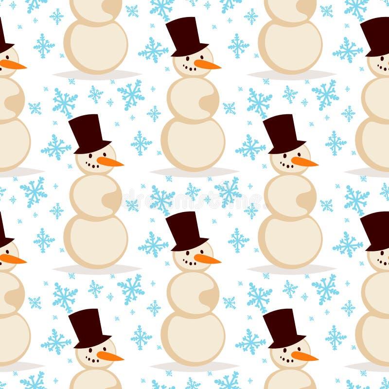 Uomo bianco di inverno di stagione di vettore di natale del pupazzo di neve nella carta senza cuciture di festa del fondo di nata royalty illustrazione gratis