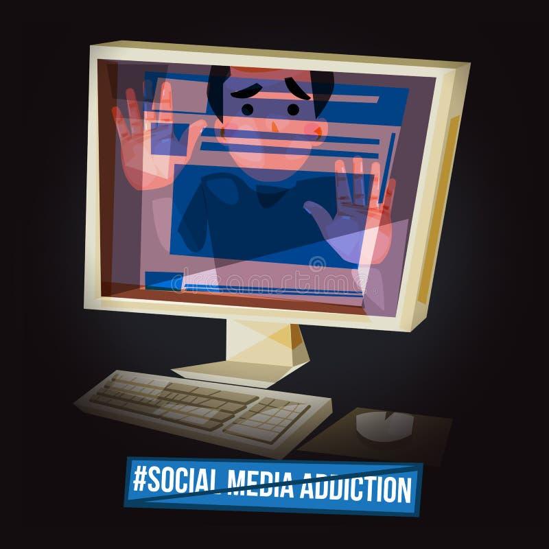 Uomo bloccato in uno schermo di computer Dipendenza sociale di media moder illustrazione vettoriale